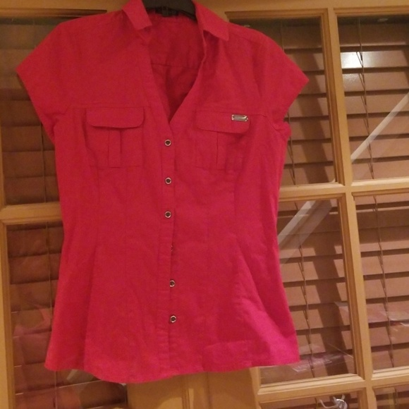 2fe485549 Express Tops | Womens Red Short Sleeved Blouse Xs Euc | Poshmark